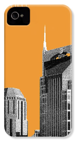 Nashville Skyline At And T Batman Building - Orange IPhone 4 / 4s Case by DB Artist