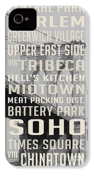 New York City Subway Stops Vintage Brooklyn Bridge IPhone 4 / 4s Case by Edward Fielding