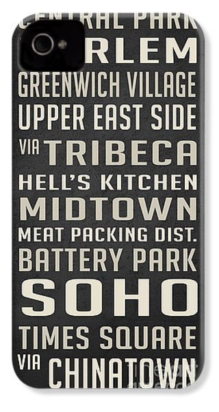 New York City Subway Stops Vintage IPhone 4 / 4s Case by Edward Fielding