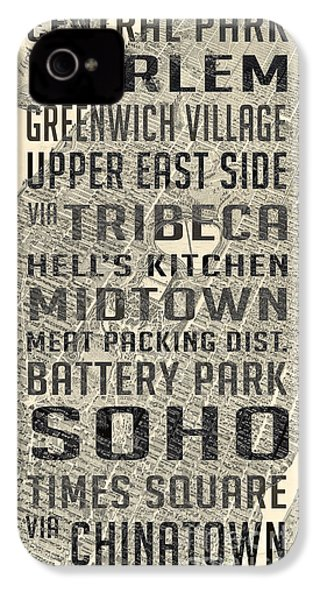 New York City Subway Stops Vintage Map 5 IPhone 4 / 4s Case by Edward Fielding