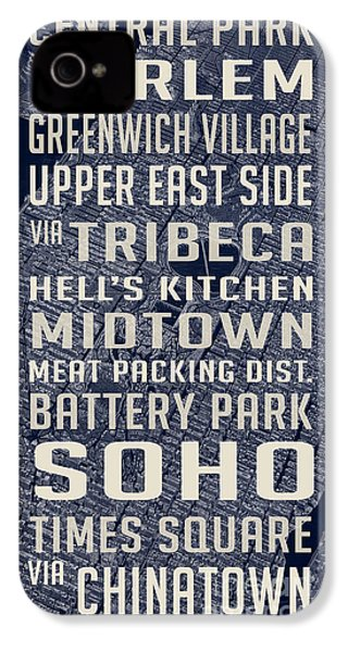 New York City Vintage Subway Stops With Map IPhone 4 / 4s Case by Edward Fielding