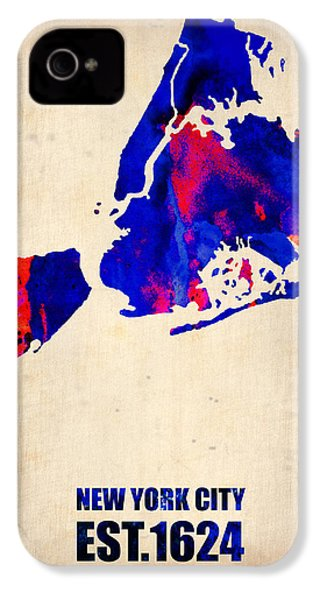 New York City Watercolor Map 1 IPhone 4 / 4s Case by Naxart Studio