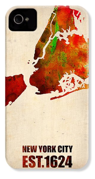 New York City Watercolor Map 2 IPhone 4 / 4s Case by Naxart Studio