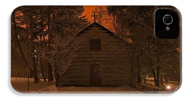 Notre Dame Log Chapel Winter Night IPhone 4 / 4s Case by John Stephens