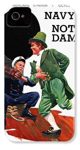 Notre Dame V Navy 1954 Vintage Program IPhone 4 / 4s Case by Big 88 Artworks