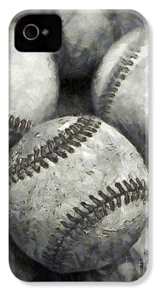 Old Baseballs Pencil IPhone 4 / 4s Case by Edward Fielding