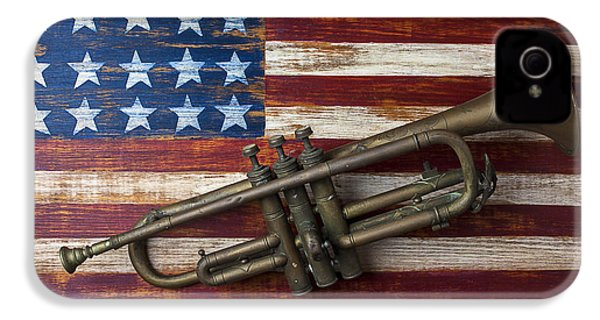 Old Trumpet On American Flag IPhone 4 / 4s Case by Garry Gay