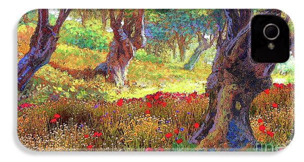 Olive Trees And Poppies, Tranquil Grove IPhone 4 / 4s Case by Jane Small