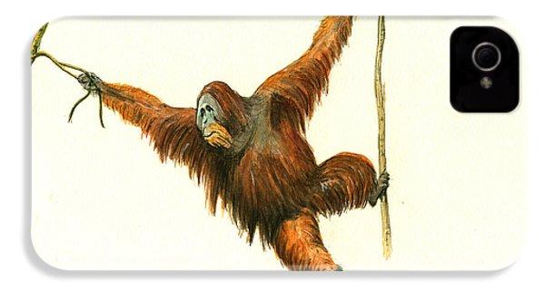 Orangutan IPhone 4 / 4s Case by Juan Bosco