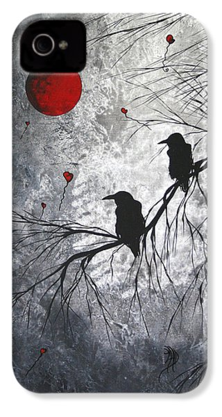Original Abstract Surreal Raven Red Blood Moon Painting The Overseers By Madart IPhone 4 / 4s Case by Megan Duncanson