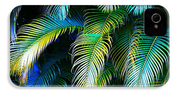 Palm Leaves In Blue IPhone 4 / 4s Case by Karon Melillo DeVega