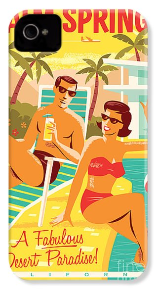Palm Springs Retro Travel Poster IPhone 4 / 4s Case by Jim Zahniser