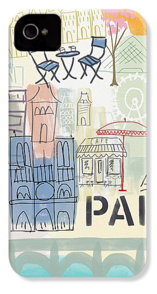 Paris Cityscape- Art By Linda Woods IPhone 4 / 4s Case by Linda Woods
