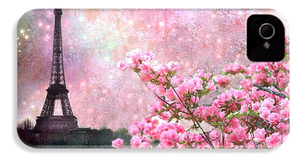 Paris Eiffel Tower Cherry Blossoms - Paris Spring Eiffel Tower Pink Blossoms  IPhone 4 / 4s Case by Kathy Fornal
