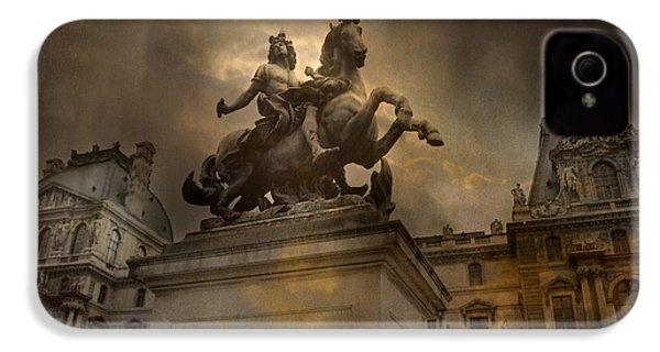 Paris - Louvre Palace - Kings Of Paris - King Louis Xiv Monument Sculpture Statue IPhone 4 / 4s Case by Kathy Fornal