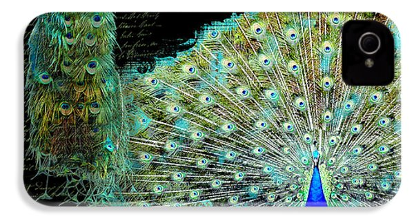 Peacock Pair On Tree Branch Tail Feathers IPhone 4 / 4s Case by Audrey Jeanne Roberts