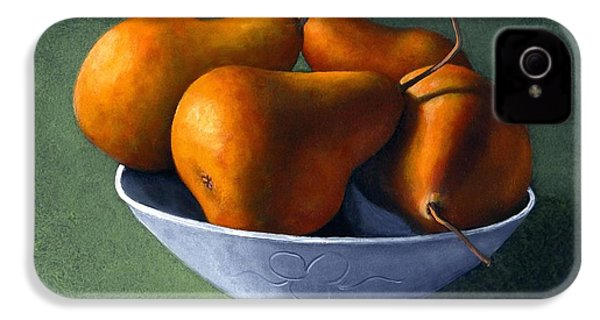 Pears In Blue Bowl IPhone 4 / 4s Case by Frank Wilson