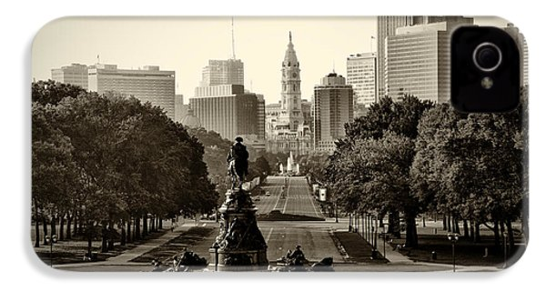 Philadelphia Benjamin Franklin Parkway In Sepia IPhone 4 / 4s Case by Bill Cannon