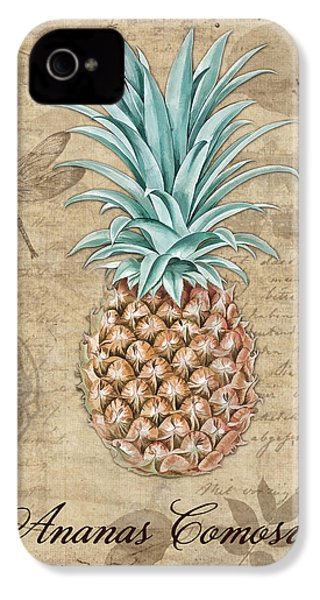 Pineapple, Ananas Comosus Vintage Botanicals Collection IPhone 4 / 4s Case by Tina Lavoie