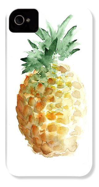 Pineapple Watercolor Minimalist Painting IPhone 4 / 4s Case by Joanna Szmerdt