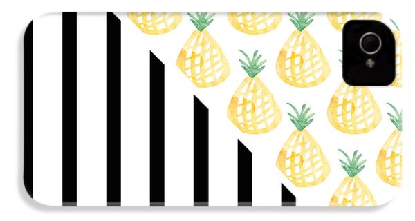 Pineapples And Stripes IPhone 4 / 4s Case by Linda Woods