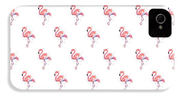 Pink Flamingo Watercolor Pattern IPhone 4 / 4s Case by Olga Shvartsur
