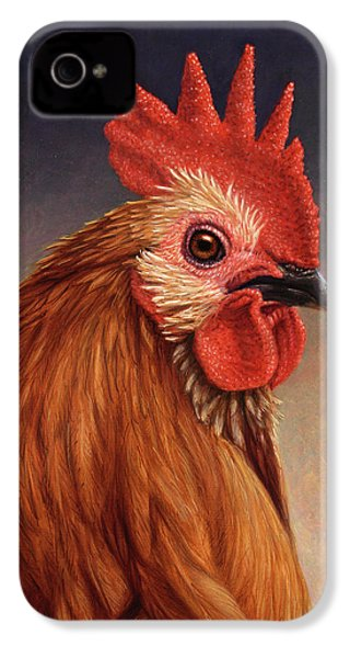 Portrait Of A Rooster IPhone 4 / 4s Case by James W Johnson