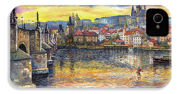 Prague Charles Bridge And Prague Castle With The Vltava River 1 IPhone 4 / 4s Case by Yuriy  Shevchuk