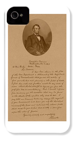 President Lincoln's Letter To Mrs. Bixby IPhone 4 / 4s Case by War Is Hell Store