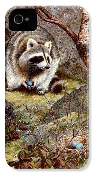 Raccoon Found Treasure  IPhone 4 / 4s Case by Frank Wilson