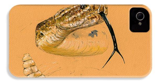 Rattlesnake Painting IPhone 4 / 4s Case by Juan  Bosco