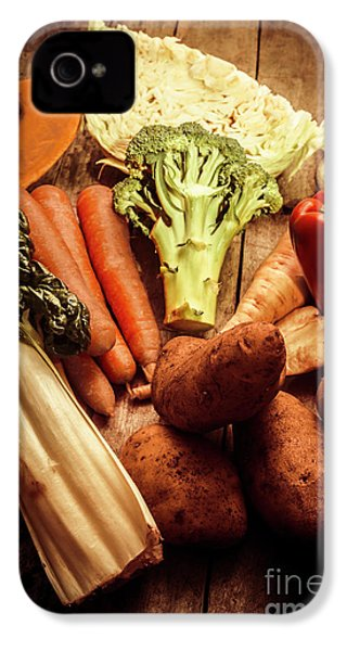 Raw Vegetables On Wooden Background IPhone 4 / 4s Case by Jorgo Photography - Wall Art Gallery