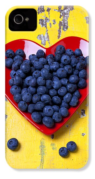 Red Heart Plate With Blueberries IPhone 4 / 4s Case by Garry Gay