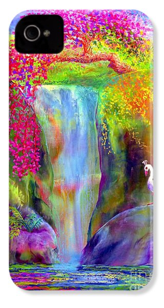 Waterfall And White Peacock, Redbud Falls IPhone 4 / 4s Case by Jane Small
