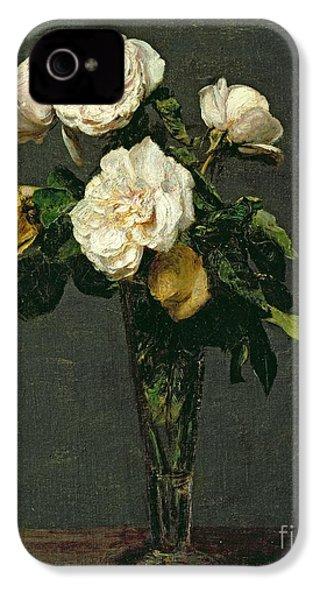 Roses In A Champagne Flute IPhone 4 / 4s Case by Ignace Henri Jean Fantin-Latour
