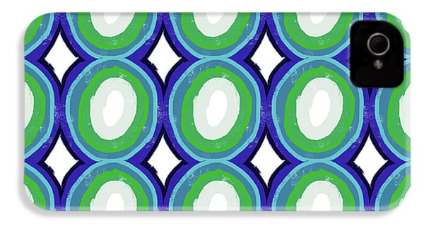 Round And Round Blue And Green- Art By Linda Woods IPhone 4 / 4s Case by Linda Woods