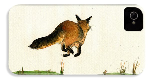 Running Fox Painting IPhone 4 / 4s Case by Juan  Bosco