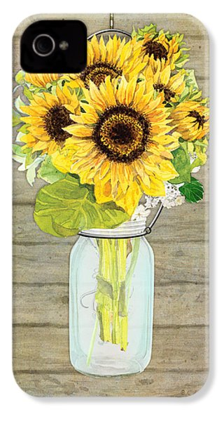 Rustic Country Sunflowers In Mason Jar IPhone 4 / 4s Case by Audrey Jeanne Roberts