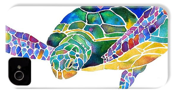 Sea Turtle Celebration 4 Prints Only IPhone 4 / 4s Case by Jo Lynch