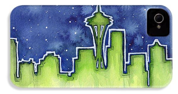 Seattle Night Sky Watercolor IPhone 4 / 4s Case by Olga Shvartsur