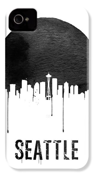 Seattle Skyline White IPhone 4 / 4s Case by Naxart Studio