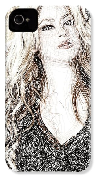 Shakira - Pencil Art IPhone 4 / 4s Case by Raina Shah