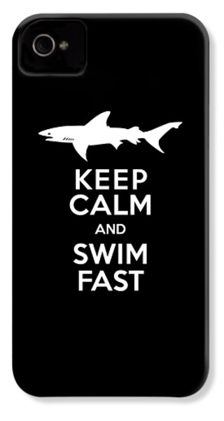 Shark Keep Calm And Swim Fast IPhone 4 / 4s Case by Antique Images