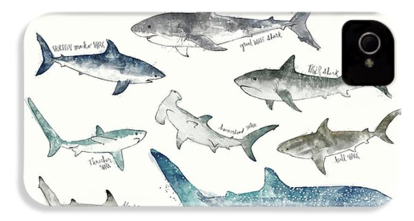 Sharks - Landscape Format IPhone 4 / 4s Case by Amy Hamilton