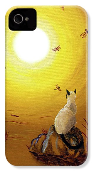 Siamese Cat With Red Dragonflies IPhone 4 / 4s Case by Laura Iverson