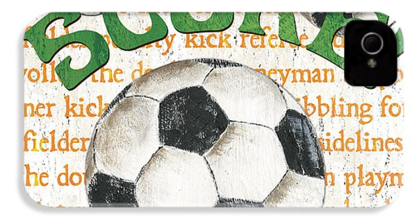Sports Fan Soccer IPhone 4 / 4s Case by Debbie DeWitt