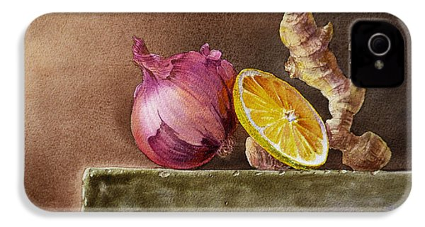 Still Life With Onion Lemon And Ginger IPhone 4 / 4s Case by Irina Sztukowski
