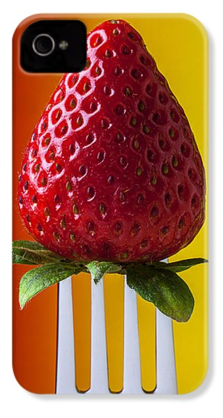 Strawberry On Fork IPhone 4 / 4s Case by Garry Gay