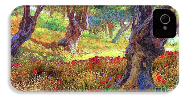 Tranquil Grove Of Poppies And Olive Trees IPhone 4 / 4s Case by Jane Small