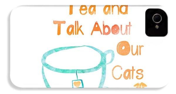 Tea And Cats Square IPhone 4 / 4s Case by Linda Woods